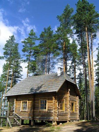 Log house in the forest stock photo, A beautiful log house in a very peaceful place in the Estonian forest by Alessandro Rizzolli