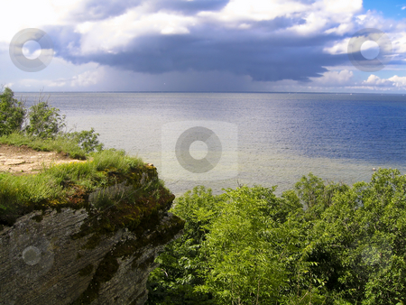 Baltic Sea coast stock photo, The baltic Sea seen from the coast located north of Tallinn, Estonia, with a storm approaching in the background by Alessandro Rizzolli
