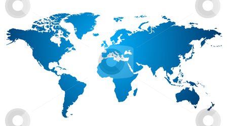 World map stock vector clipart, World map over white by Laurent Renault