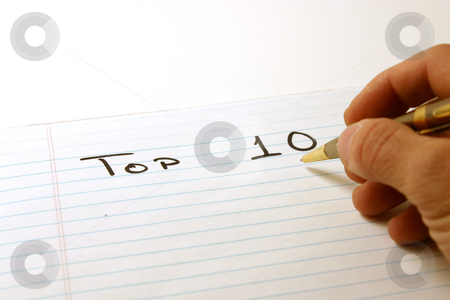 TOP TEN - Notepad & Pen stock photo, TOP 10 - Notepad & PenIsolated by Mehmet Dilsiz