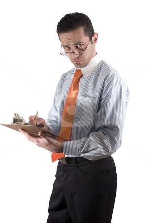 Businessman looking over his glasses with clipboard on hand - fr stock photo, Isolated businessman / quality inspector looking over his glasses - from side by Mehmet Dilsiz