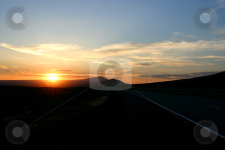 Sunset by the Highway stock photo, Sunset by the Highway in Oregon by Mehmet Dilsiz