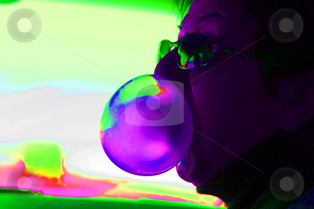 Abstract Woman Blowing Bubbles with a Bubble Gum stock photo, Abstract Colors - Woman Blowing Bubbles with a Bubble Gum by Mehmet Dilsiz