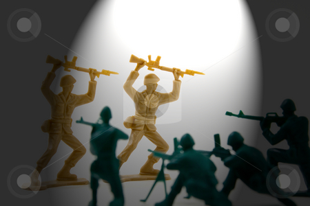 Surrender - Under the Spotlight Concept Shot of Plastic Soldiers stock photo, Isolated Plastic Toy Soldiers - Surrender Concept by Mehmet Dilsiz
