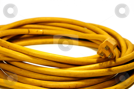 Power Cord stock photo, Yellow Power Cord Extension by Mehmet Dilsiz