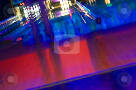 Abstract Blurry Bowling Alley with a girl standing stock photo, Abstract Blurry Bowling Alley - Getting ready to bowl, Blurry Girl by Mehmet Dilsiz