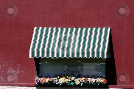 Italian Style Restaurant Window stock photo, Italian Style Restaurant Window with Red Wall by Mehmet Dilsiz