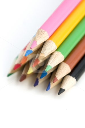 Coloring Pencils in Pyramid - Shallow DOF stock photo, Colored Pencils in Pyramid - Shallow DOF by Mehmet Dilsiz
