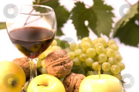 Wine and fruits  stock photo, Wine and fruits on white background by Minka Ruskova-Stefanova