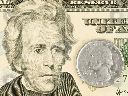 Presidents Facing each other stock photo, Cash of Presidents Facing each other Close up by John Teeter