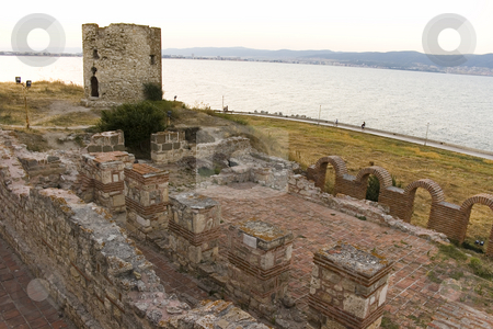 Ancient tower and ruins  stock photo, Ancient tower and ruins in nessebar, bulgaria by Minka Ruskova-Stefanova