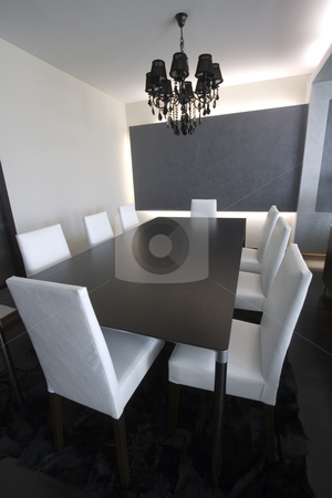 Trendy Modern Dining Room stock photo, Trendy Modern Dining Room and Dinner Table by Mehmet Dilsiz
