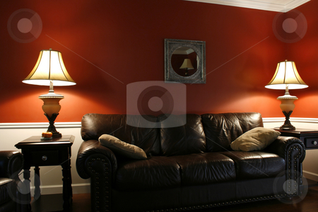 Inside the Living Room with a Couch and Lamps stock photo, Lamps and the Coush in a House by Mehmet Dilsiz