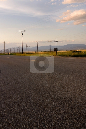 Road and the Countryside stock photo, Freeway and Countryside with Electric Poles by Mehmet Dilsiz