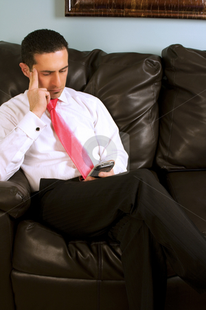 Home or Office - Businessman Working on the Couch stock photo, Home or Office - Businessman Checking his PDA by Mehmet Dilsiz