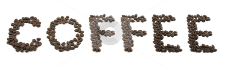 Isolated Coffee Beans Spelling COFFEE stock photo, Isolated Coffee Beans Spelling COFFEE by Mehmet Dilsiz