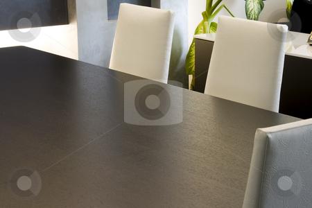 Trendy Modern Dining Room stock photo, Close up on a Trendy Modern Dining Room and Dinner Table by Mehmet Dilsiz