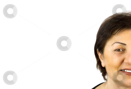 Isolated Close up to a Woman stock photo, Close up to a Woman's Face with Copyspace by Mehmet Dilsiz