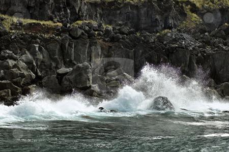 Volcanic coastline in  Azores stock photo, Waves in the volcanic coastline of Pico Island, Azores, Portugal by Manuel Ribeiro