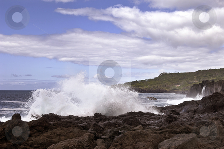 Volcanic coastline in  Azores stock photo, Waves in the volcanic coastline of Pico Island, Azores, Portugal by Manuel Ribeiro