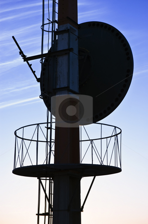 Antenna stock photo, Telecommunications antenna against a clear blue sky by Manuel Ribeiro