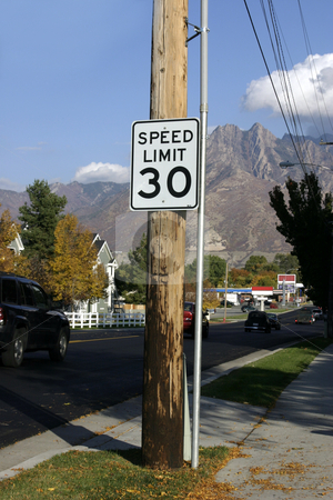 Speed Limit 30 stock photo, Speed Limit Thirty with Mountains on the background by Mehmet Dilsiz