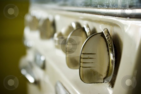 Vintage Oven 1 stock photo, Temperature knobs on an oven made in the 1950s. by Kristine Keller