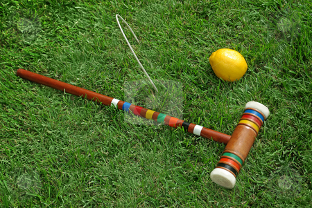 Fruit Croquet 4 stock photo, A fruit-themed game of croquet. by Kristine Keller