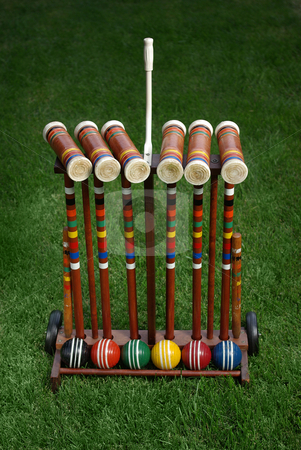 Croquet 3 stock photo, A used croquet set. by Kristine Keller