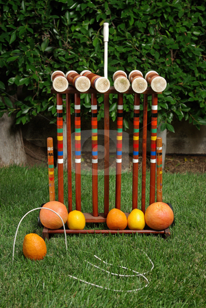 Fruit Croquet 2 stock photo, A fruit-themed game of croquet. by Kristine Keller