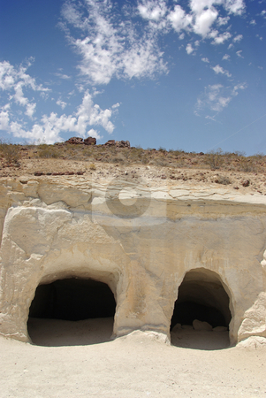 Mining Cave 4 stock photo, The opening of two mines in the Mojave Desert, California. by Kristine Keller