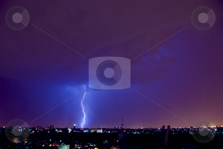 Lightning bolt (IMGP2628) stock photo, Electrical Storm over the City by Germán Ariel Berra