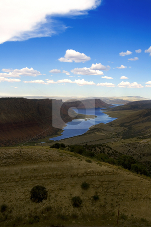 Flaming Gorge in Utah stock photo, View from the top of the mountains in Flaming Gorge by Mehmet Dilsiz