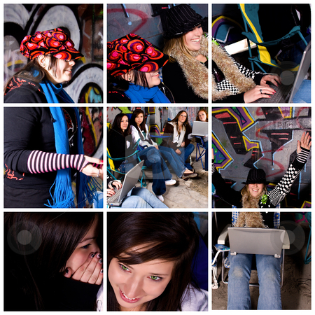 Teenager Girls Collage stock photo, Collage - Teenager girls in various poses by Mehmet Dilsiz