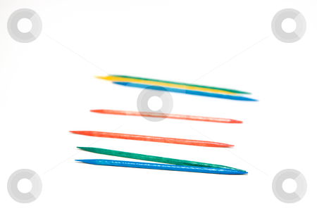 Isolated Colored Toothpick stock photo, Isolated Colored Toothpick on White Background by Mehmet Dilsiz