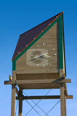 Wooden Clock Tower stock photo, Wooden Clock Tower in a Mall by Mehmet Dilsiz