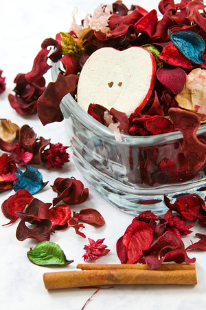 Close up on dried leaves and rose stock photo, Isolated potpourri - close up on dried leaves and rose by Mehmet Dilsiz
