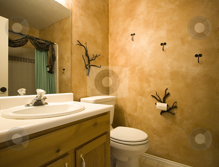 Interior shot of a bathroom with modern design stock photo, Interior shot of a bathroom with modern decorations on the wall by Mehmet Dilsiz