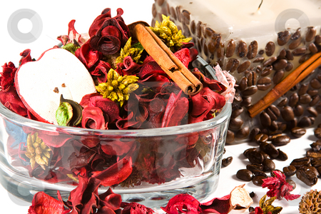 Spa detente  stock photo, Close up on a candle and potpourri - Spa Scene by Mehmet Dilsiz