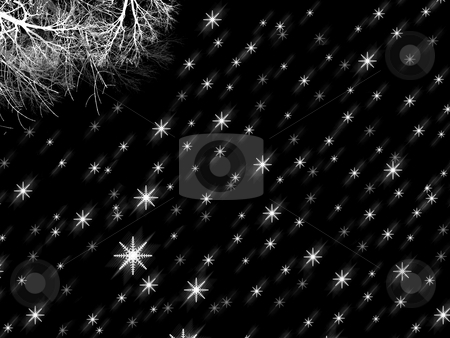 Digital Abstract - It is snowing under the Tree stock photo, Black and White - Abstract Snow at Night by Mehmet Dilsiz