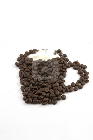 Isolated Coffee Mug and Creamer out of Coffee Beans stock photo, Coffee Mug and Creamer out of Coffee Beans by Mehmet Dilsiz