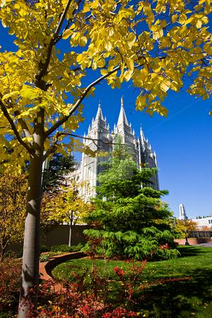 Mormon Temple Square stock photo, Mormon Temple Squae in Fall - Salt Lake City, Utah by Mehmet Dilsiz