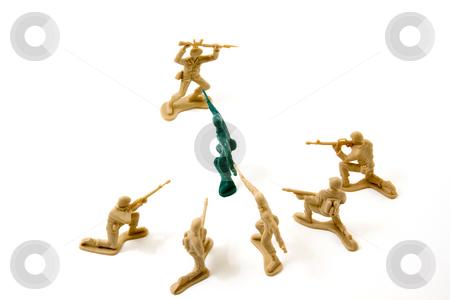 Stubborn Concept - Plastic ArmyMmen stock photo, Isolated Plastic Toy Soldiers - Stubborn Concept by Mehmet Dilsiz