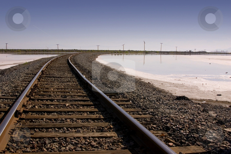 Railroad Tracks by Salt Lake stock photo, Close up on Railroad Tracks by Mehmet Dilsiz