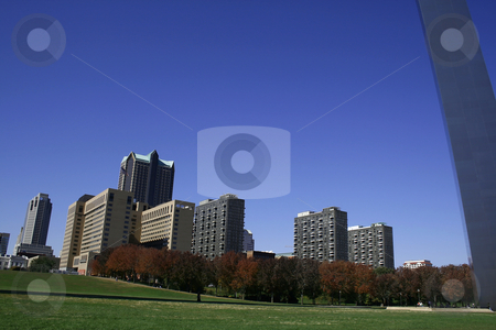 Downtown St. Louis under the Arch stock photo, Downtown Buildings under the Arch in St. Louis by Mehmet Dilsiz
