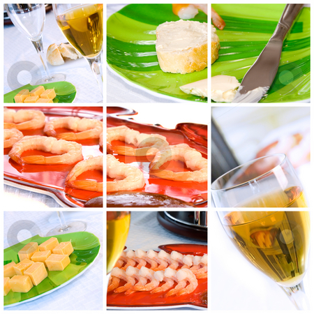Wine, Shrimp, Bread and Butter Collage stock photo, Food Collage with shrimp, wine, bread and butter by Mehmet Dilsiz