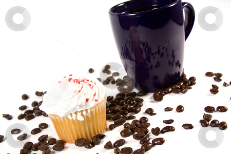 Isolated Coffee Mug with Cupcake stock photo, Isolated Coffee Mug with beans and cupcakes by Mehmet Dilsiz