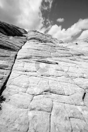 Looking up the Sandstones in Snow Canyon - Utah stock photo, Snow Canyon in St. George, Utah - Sandstones - Black and White by Mehmet Dilsiz