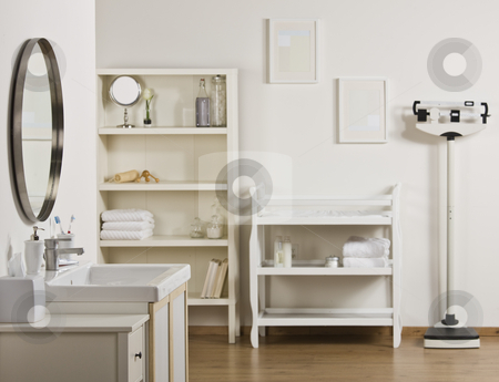 Empty Bathroom stock photo, An empty bathroom decorated in neutral tones.  Horizontally framed shot. by Jonathan Ross