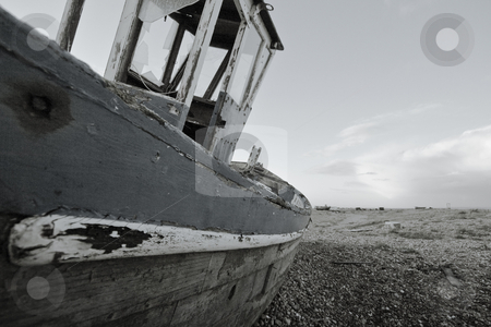 Old boat stock photo, Old boat laying on land by Fredrik Elfdahl